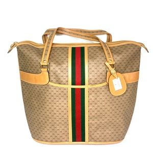 Authentic Gucci coated canvas brown travel bag